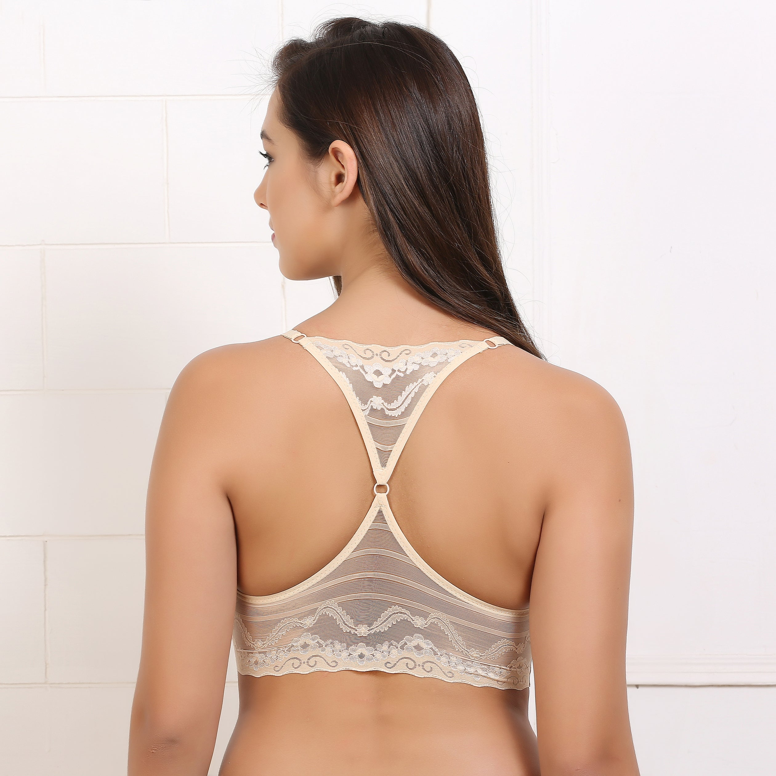 Ficuster Padded Stretchable Lacy Crop Top Beige Bralette