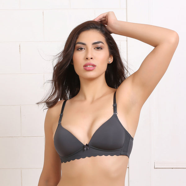 Ficuster Non Wired Nylon Dark Grey Bra