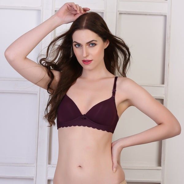 Ficuster Non Wired Nylon Wine Color Bra