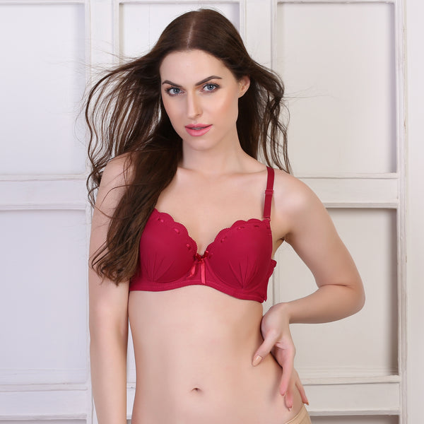 Ficuster Wired Maroon Push Up Bra