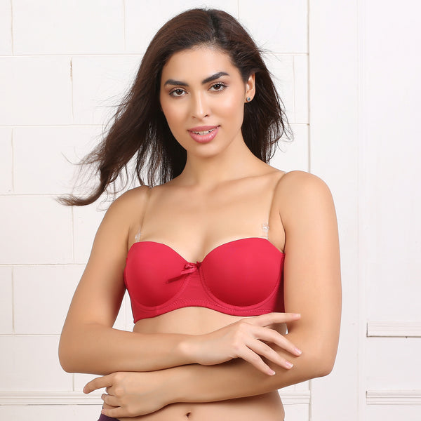 Ficuster Wired Red Transparent Straps Bra