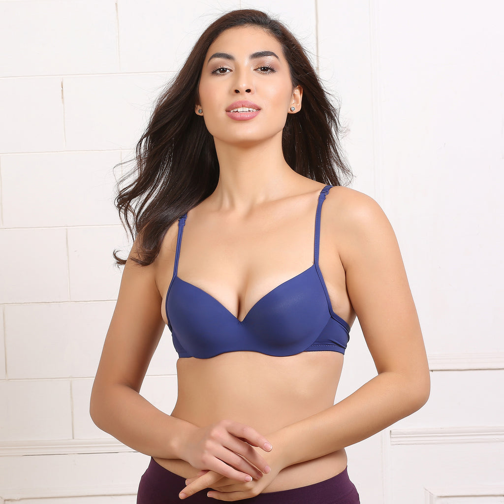 Ficuster Wired Navy Blue Push Up Bra