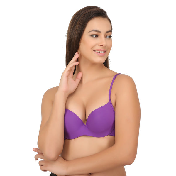 Ficuster Wired Purple Push Up Bra