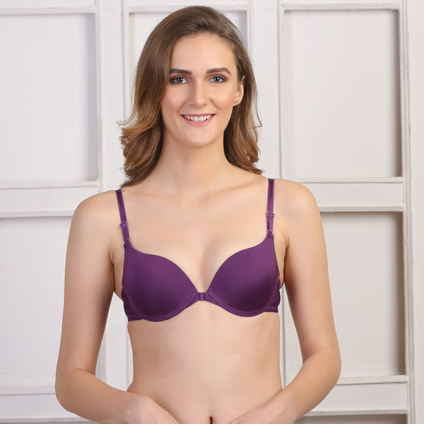 Ficuster Wired Purple Removable Straps Bra