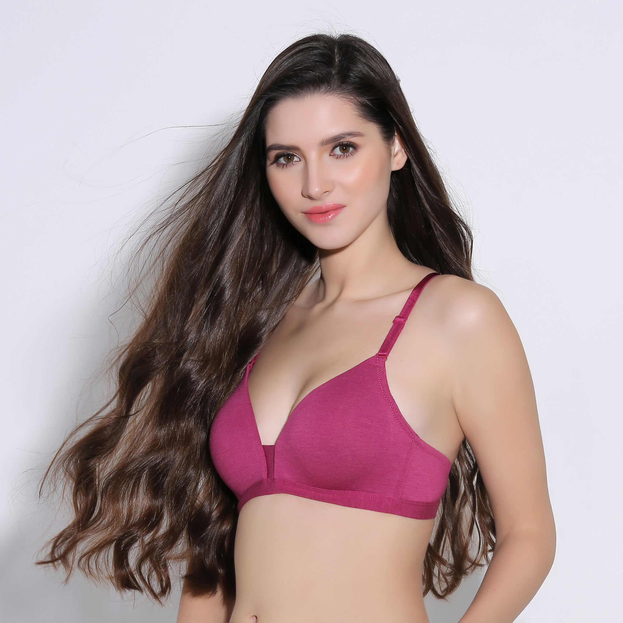 Ficuster Maroon Nonwired Textured Push Up Bra