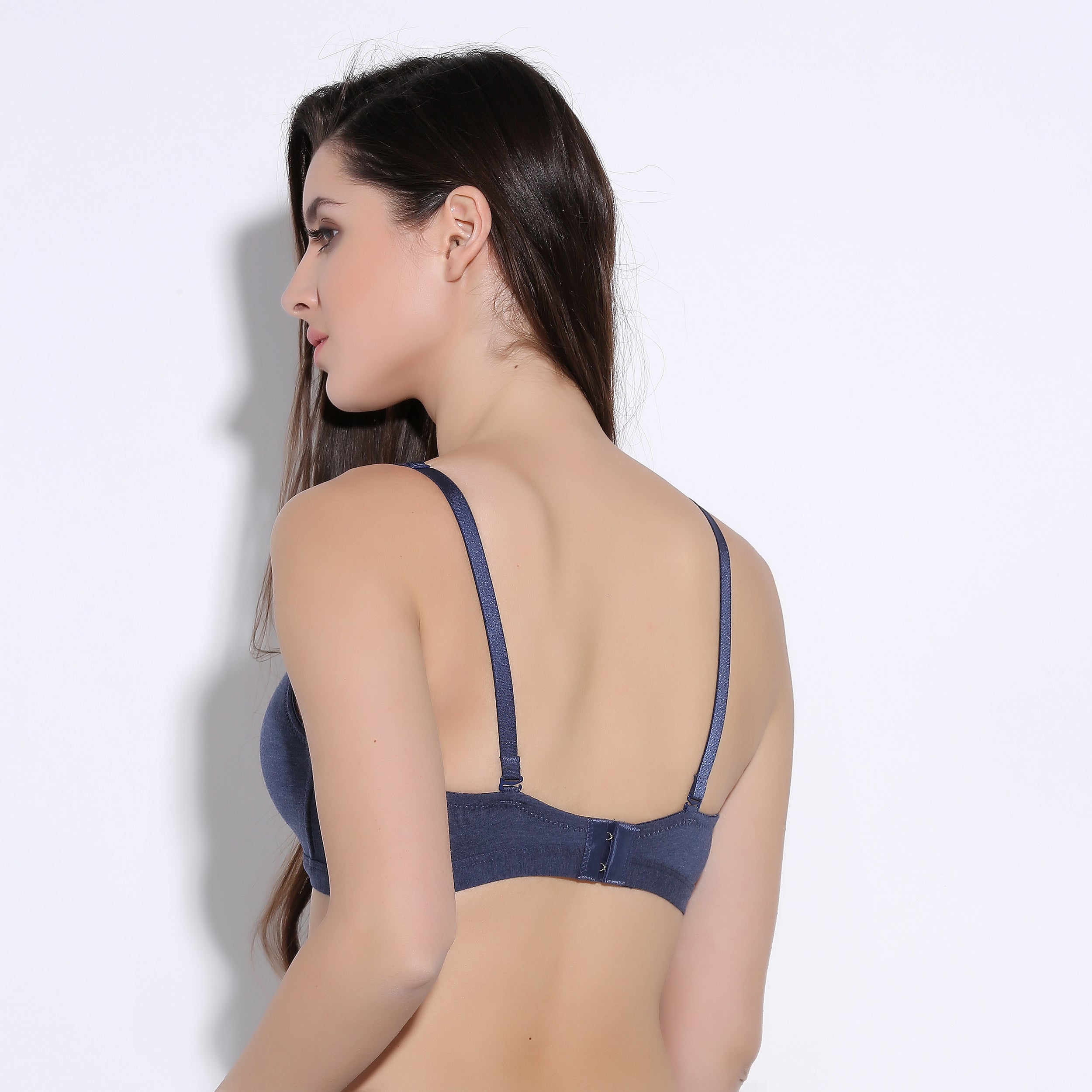Ficuster Navy Blue Nonwired Textured Push Up Bra