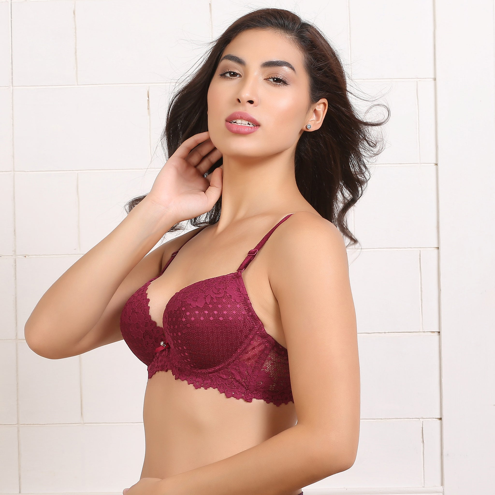 Ficuster Floral Lace Maroon Push Up Bra