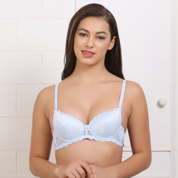 Ficuster Floral Lace Light Blue Push Up Bra
