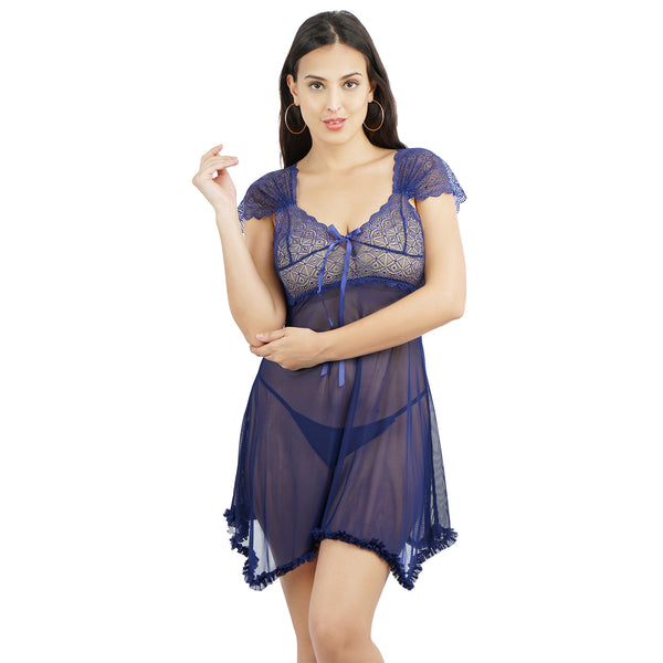 Ficuster V-Neck Cap Sleeve Blue Babydoll Nightwear