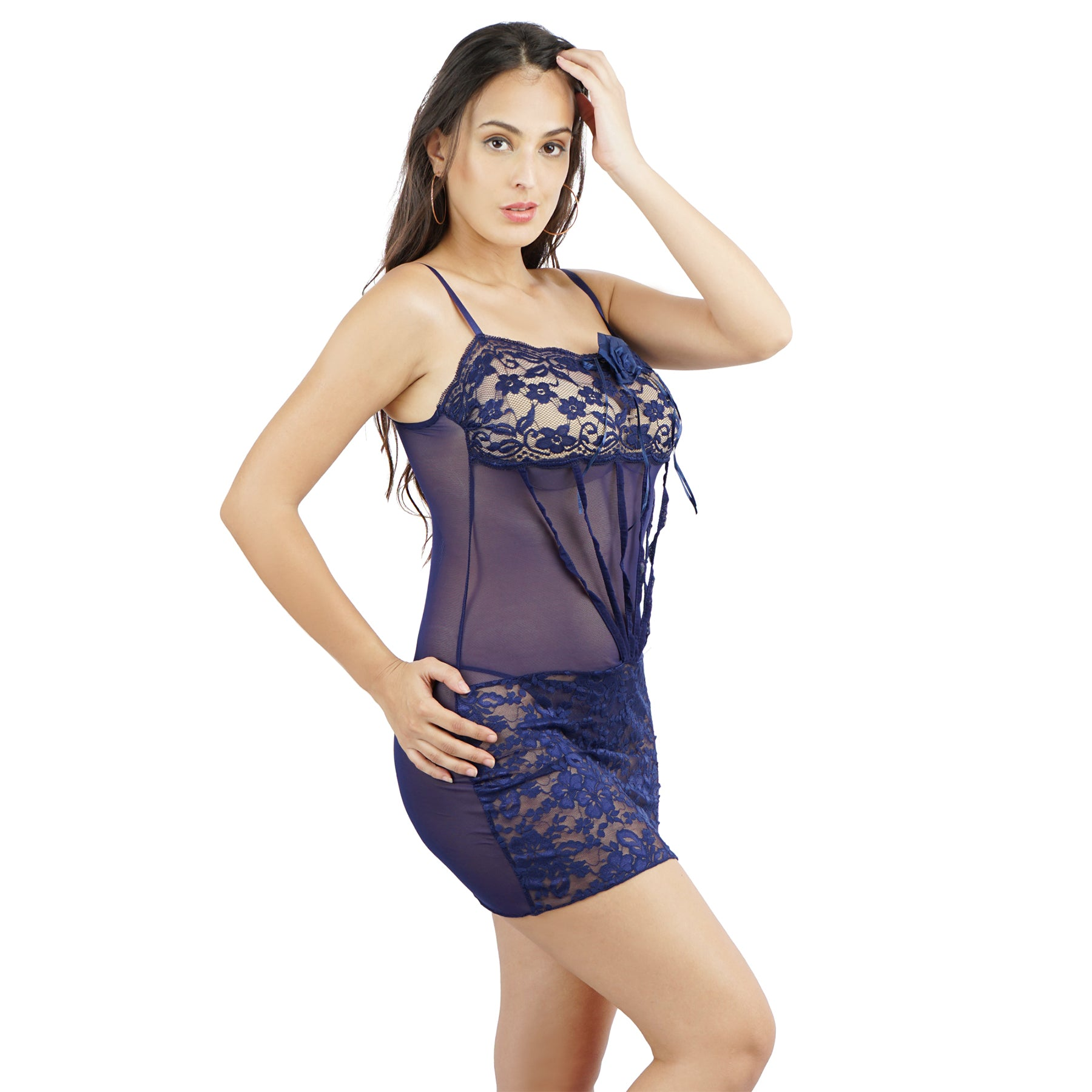 Ficuster Square Neck Navy Blue Babydoll Nightwear