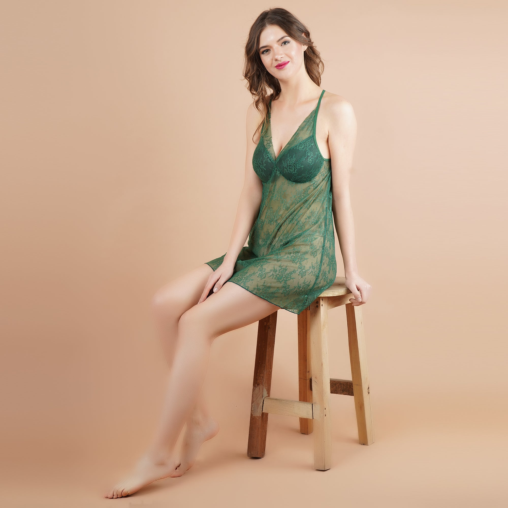 Ficuster V-Neck Green Color Padded Babydoll Nightwear