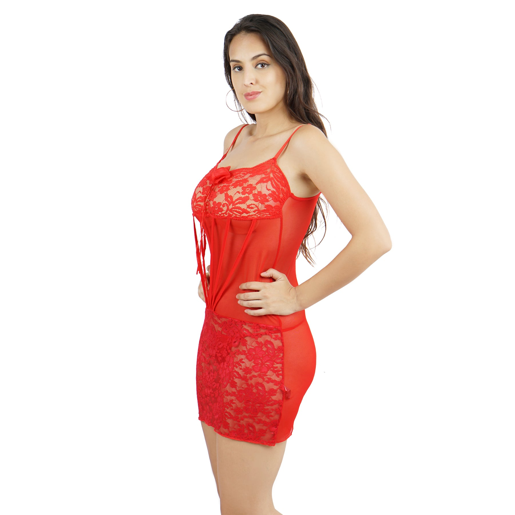 Ficuster Square Neck Red Babydoll Nightwear