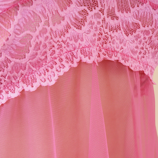 Ficuster Halter Neck Pink Lacy Babydoll