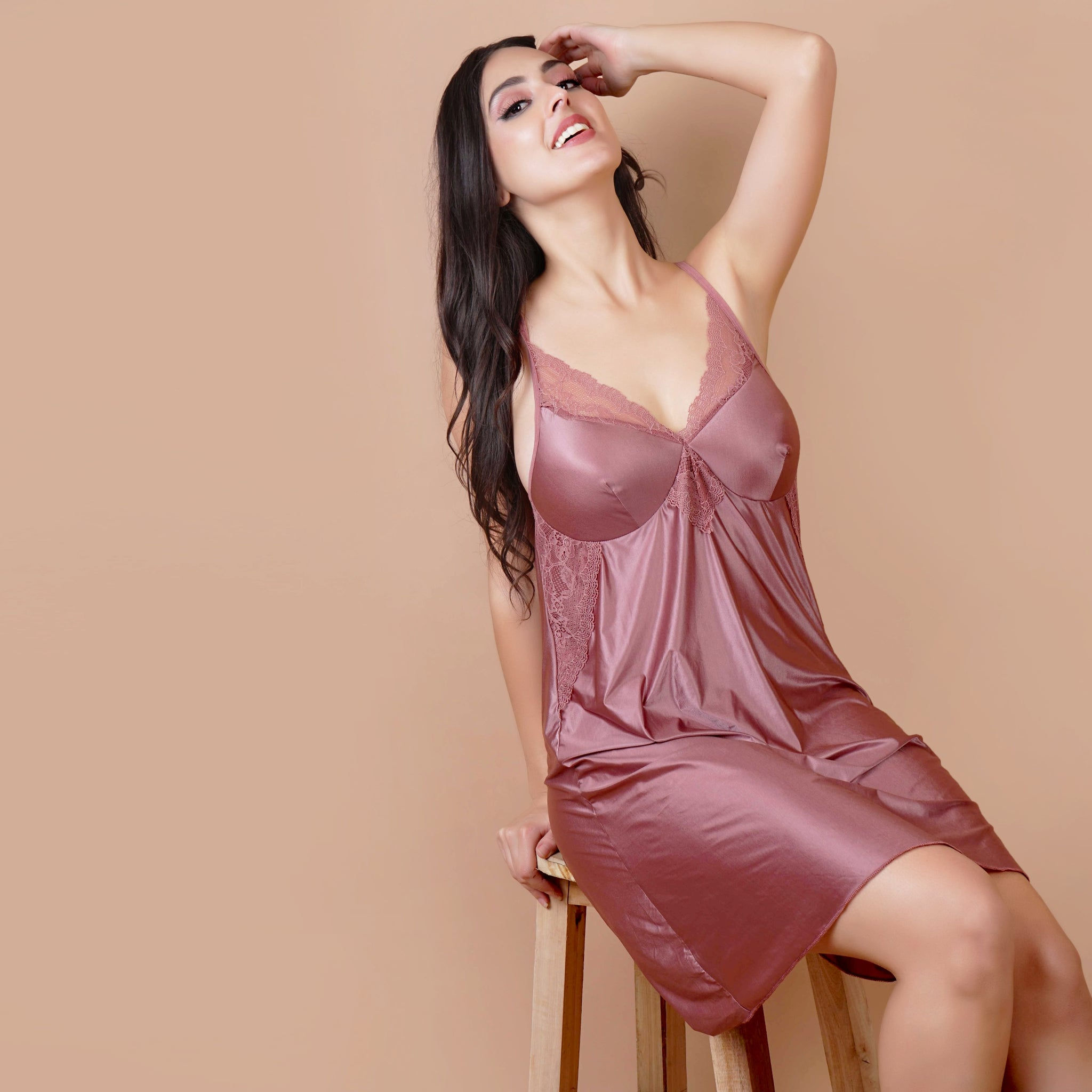 Ficuster V-Neck Wine Color Babydoll Nightwear