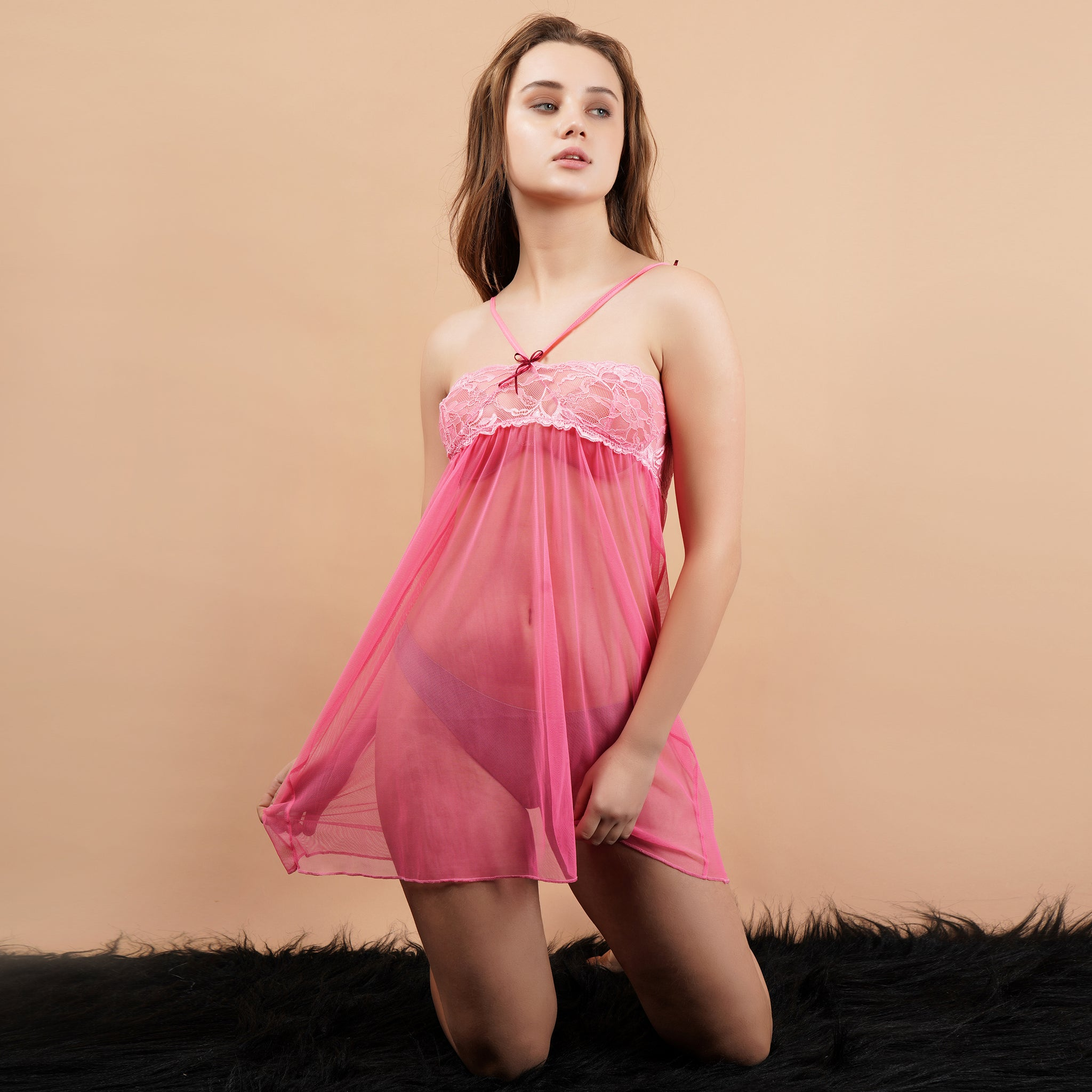 Ficuster Pink Off Shoulder Lacy Babydoll Nightwear
