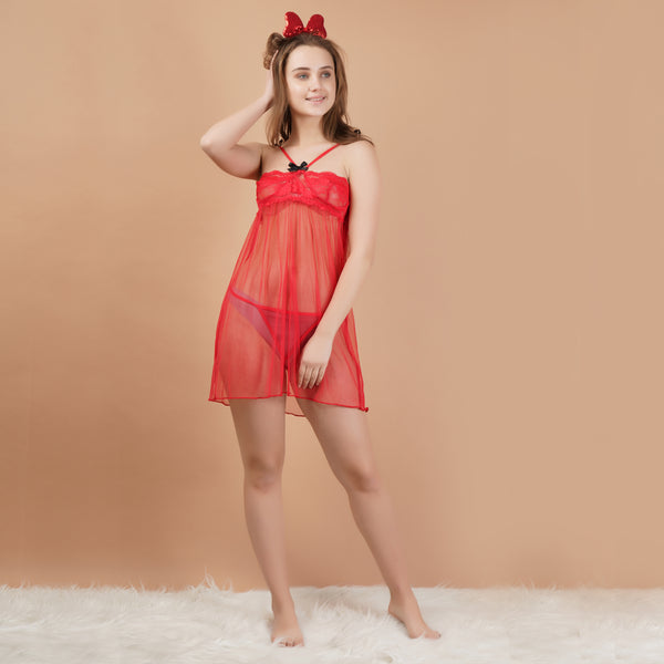 Ficuster Red Off Shoulder Lacy Babydoll Nightwear