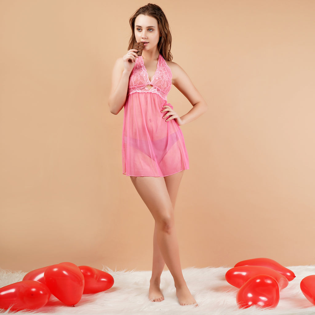Ficuster Pink Halter Neck Floral Lace Babydoll Nightwear