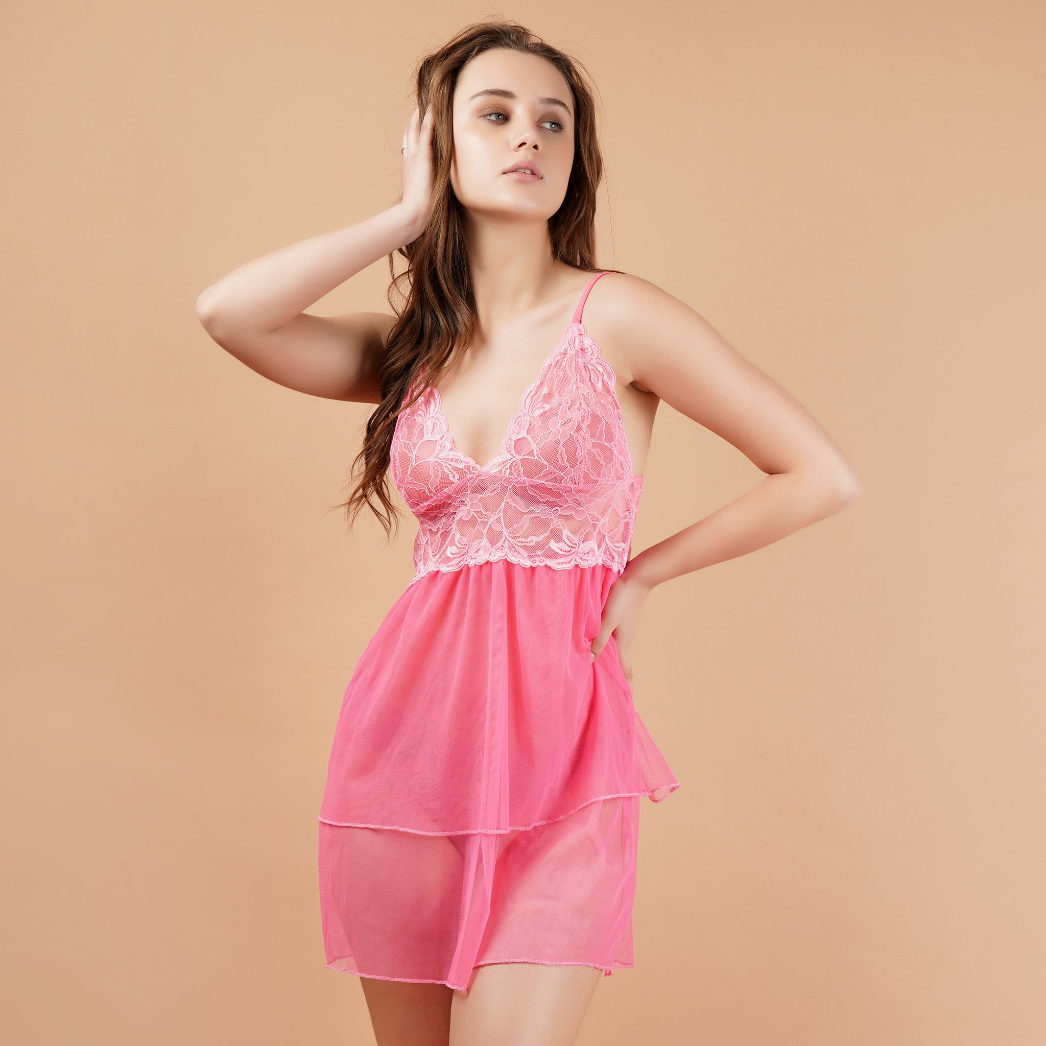 Ficuster Pink Cami Adjustable Straps Floral Lace Babydoll Nightwear