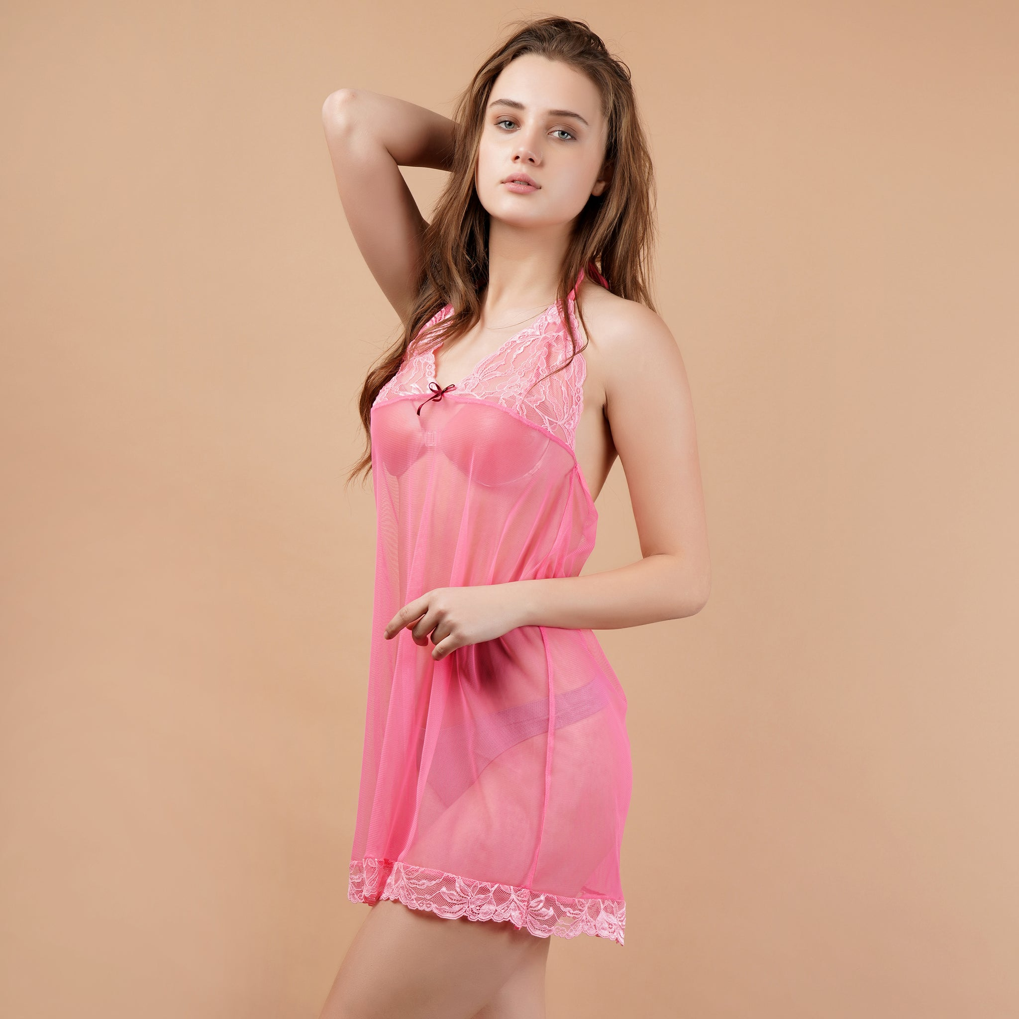 Ficuster Halter Neck Pink Floral Lace Babydoll Nightwear