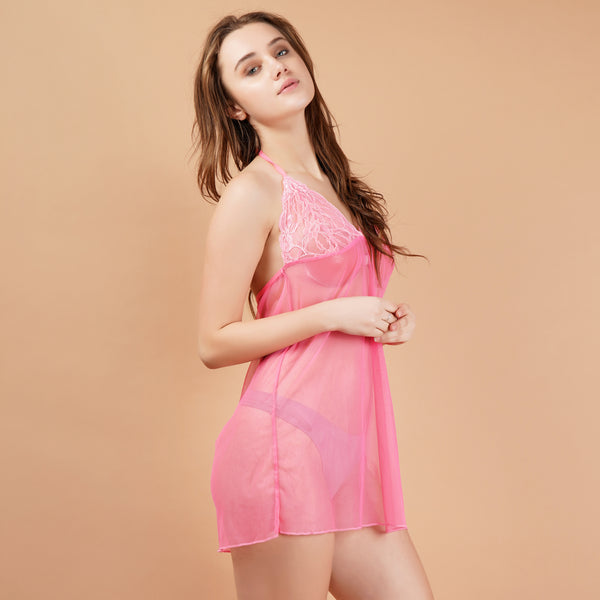 Ficuster Floral Lace Pink Halter Neck Babydoll Nightwear