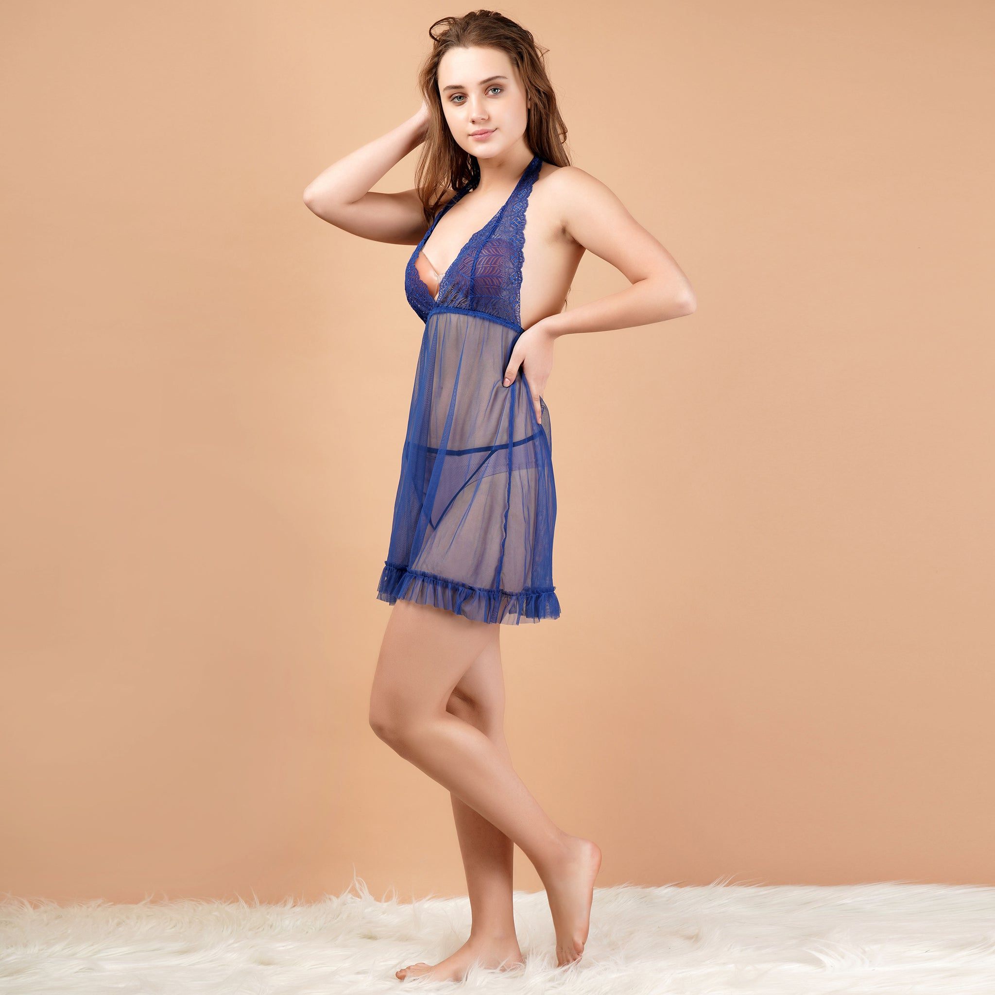 Ficuster Halter Neck Floral Lace Navy Blue Babydoll Nightwear