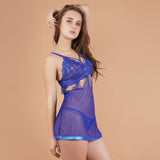 Ficuster Cami Adjustable Straps Floral Lace Blue Babydoll Nightwear