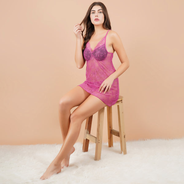 Ficuster V-Neck Dark Pink Padded Babydoll Nightwear