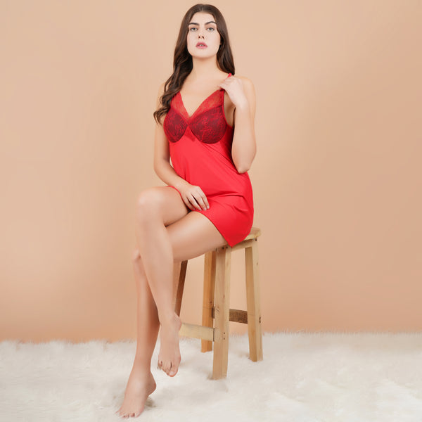 Ficuster V-Neck Red Padded Babydoll Nightwear