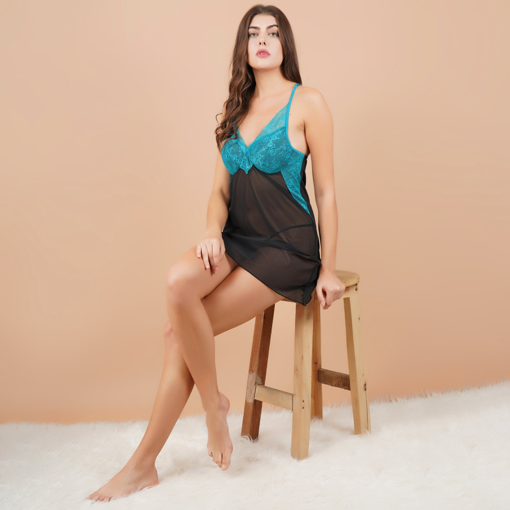 Ficuster V-Neck Turquoise Black Padded Babydoll Nightwear