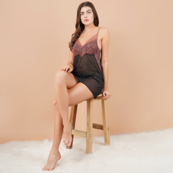 Ficuster V-Neck Wine Black Padded Babydoll Nightwear