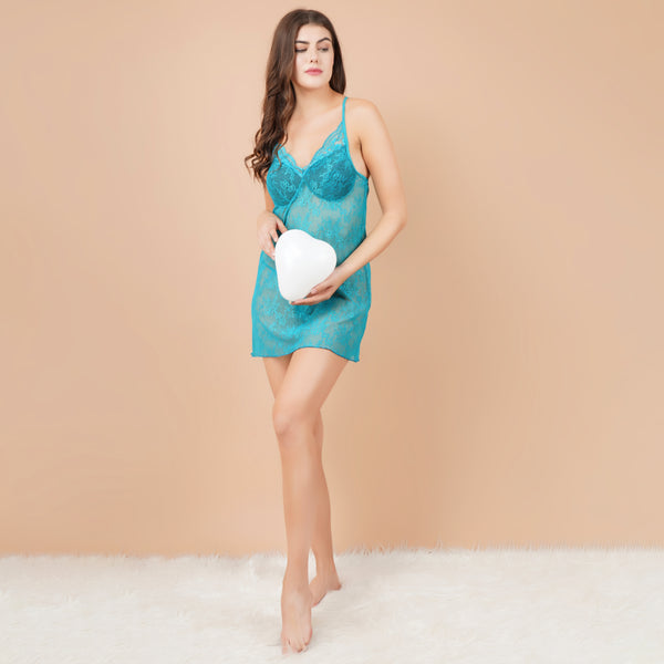 Ficuster V-Neck Turquoise Padded Babydoll Nightwear
