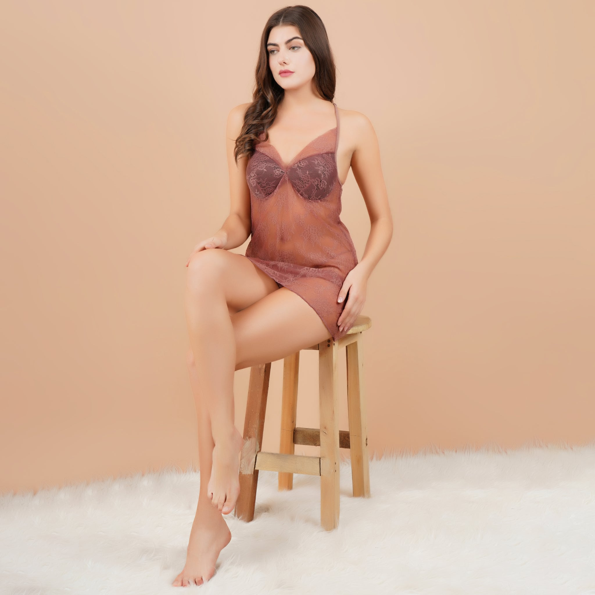 Ficuster V-Neck Wine Color Padded Babydoll Nightwear