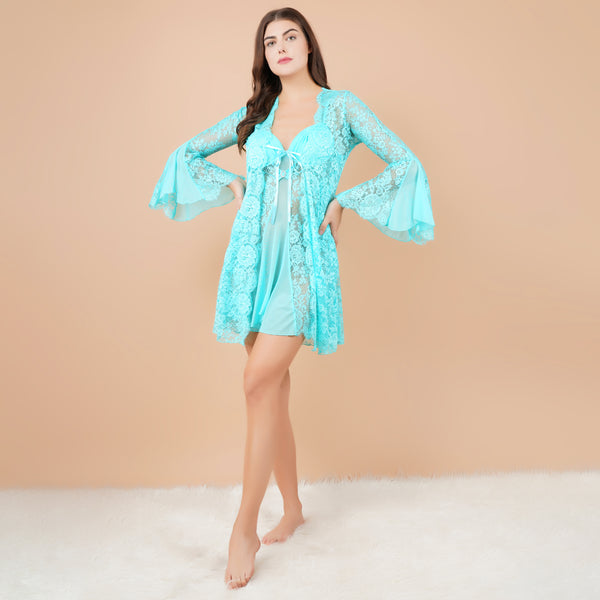 Ficuster V-Neck Sky Blue Padded Babydoll Nightwear Shrug
