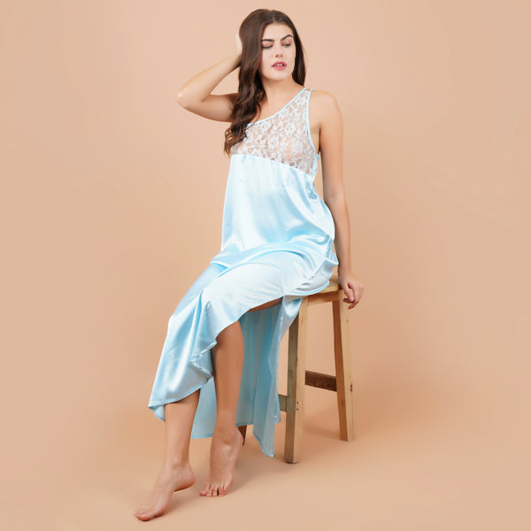 Ficuster Sky Blue Long Nighty With Robe
