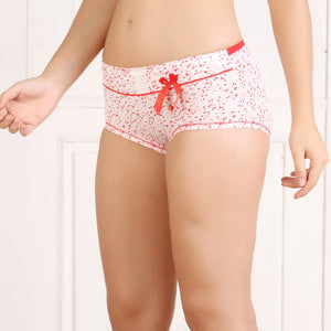 Ficuster Red Printed High Rise Hipster Panty