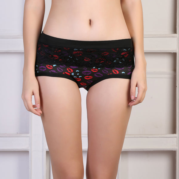 Ficuster Black Printed High Rise Hipster Panty