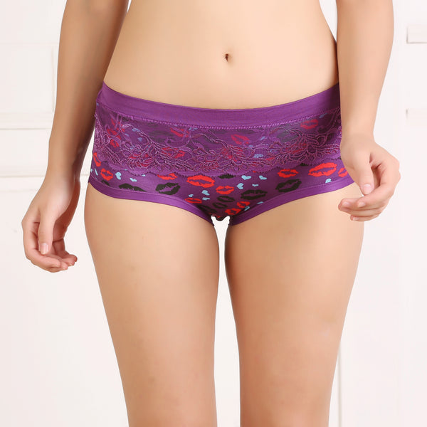 Ficuster Purple Printed High Rise Hipster Panty