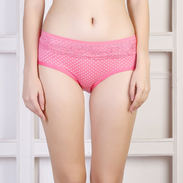 Ficuster Pink Printed Mid Rise Hipster Panty
