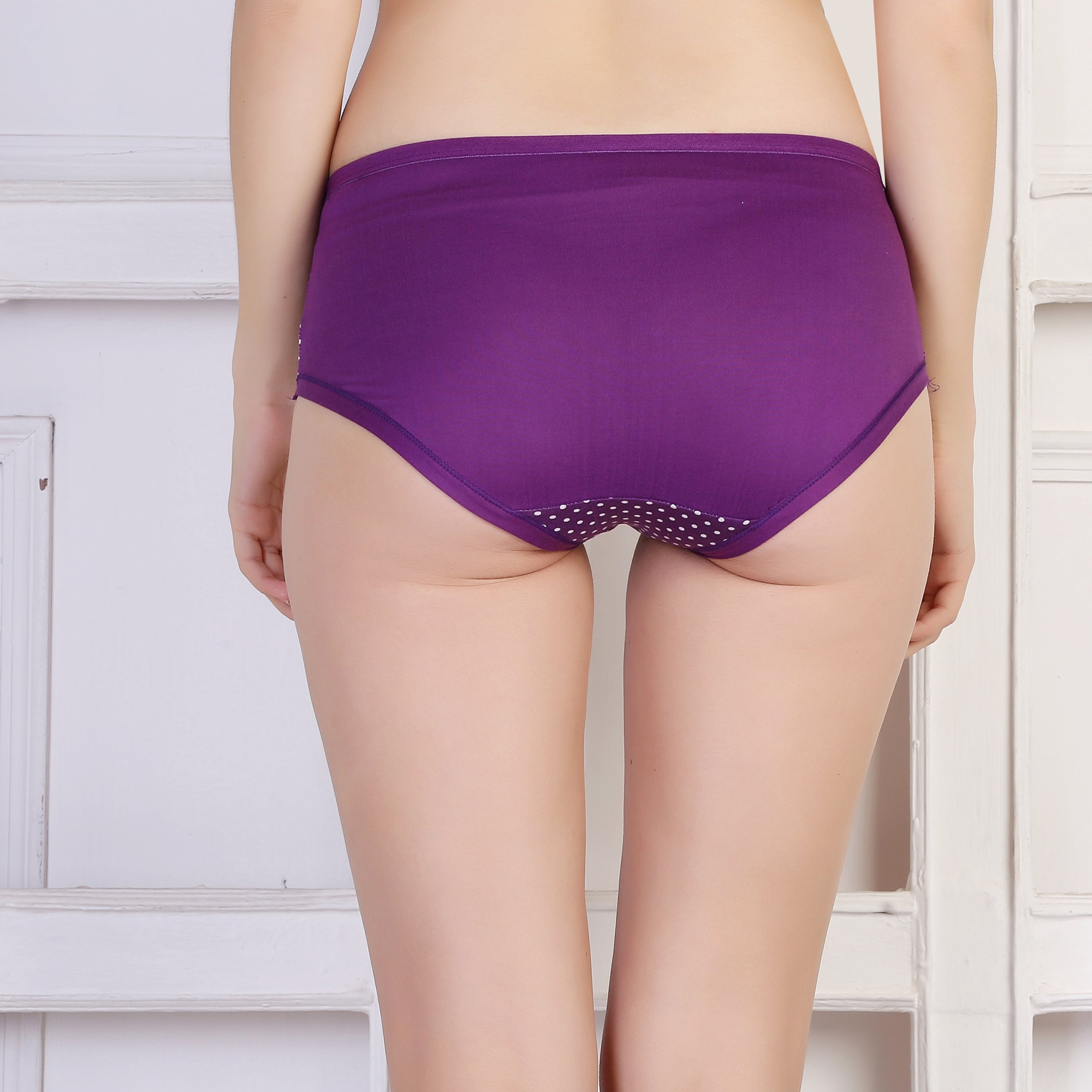Ficuster Purple Printed Mid Rise Hipster Panty