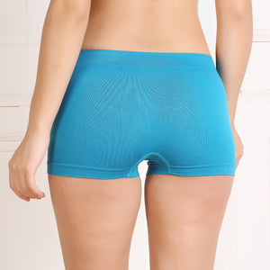 Ficuster Pink Turquoise High Rise Boyshort Panty (Pack of 2)