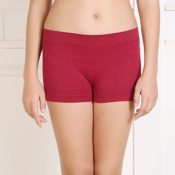 Ficuster Maroon Solid High Rise Boyshort Panty