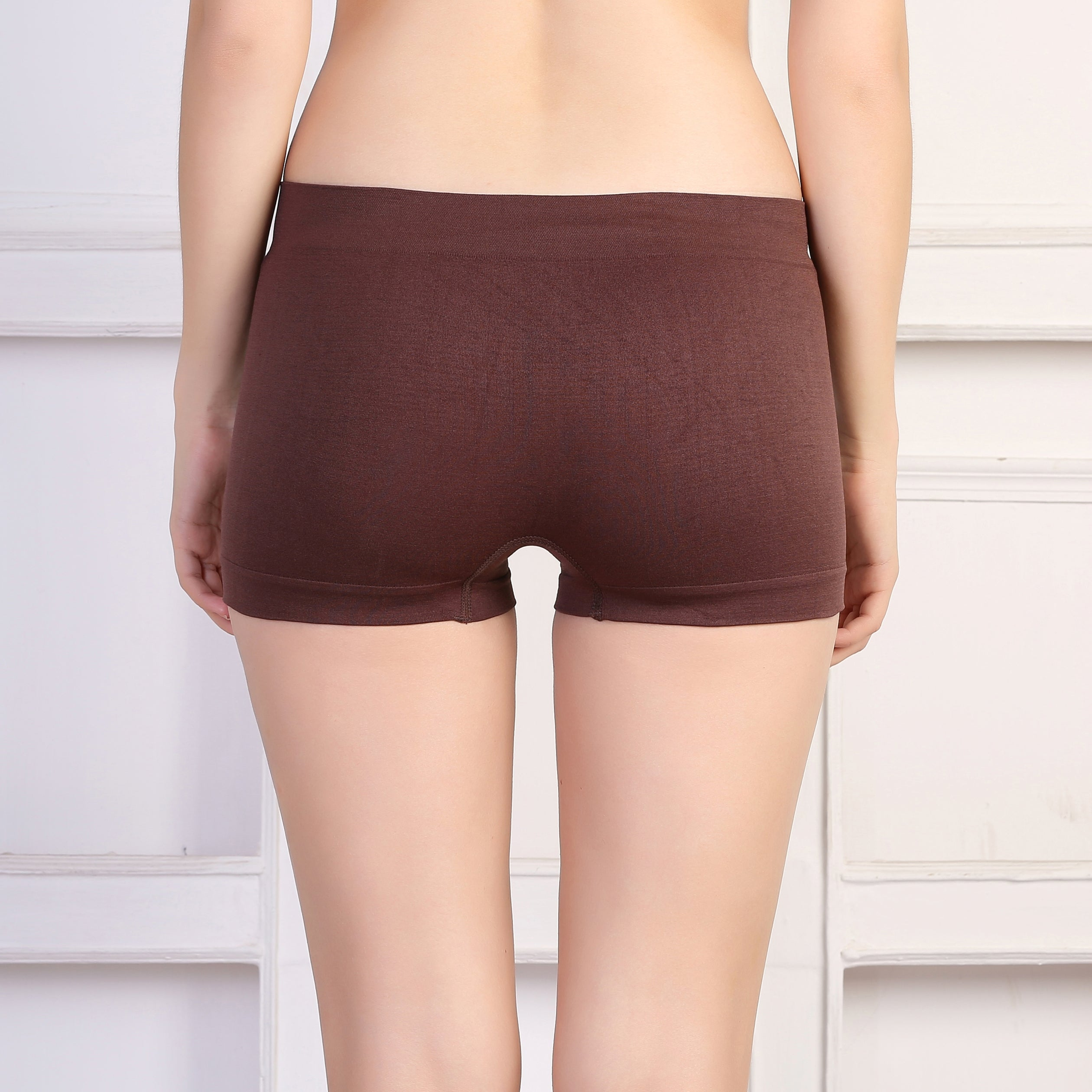 Ficuster Brown Solid High Rise Boyshort Panty