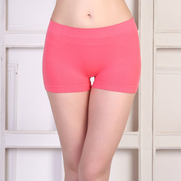 Ficuster Pink Solid High Rise Boyshort Panty