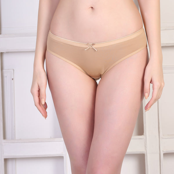 Ficuster Wine Beige Low Rise Cotton Bikini Panty (Pack of 2)