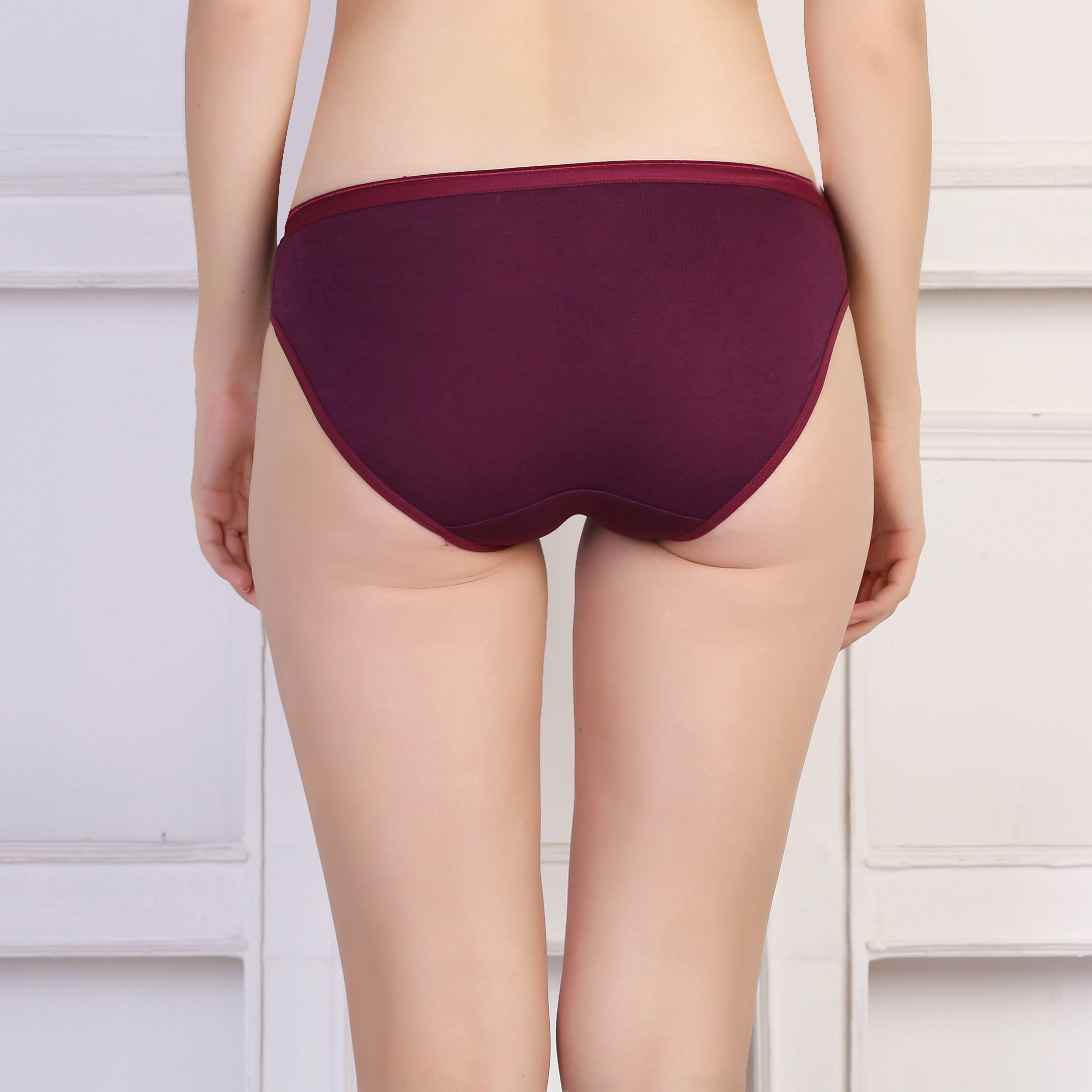 Ficuster Wine Red Blue Low Rise Cotton Bikini Panty (Pack of 3)