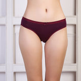 Ficuster Wine Color Low Rise Cotton Bikini Panty