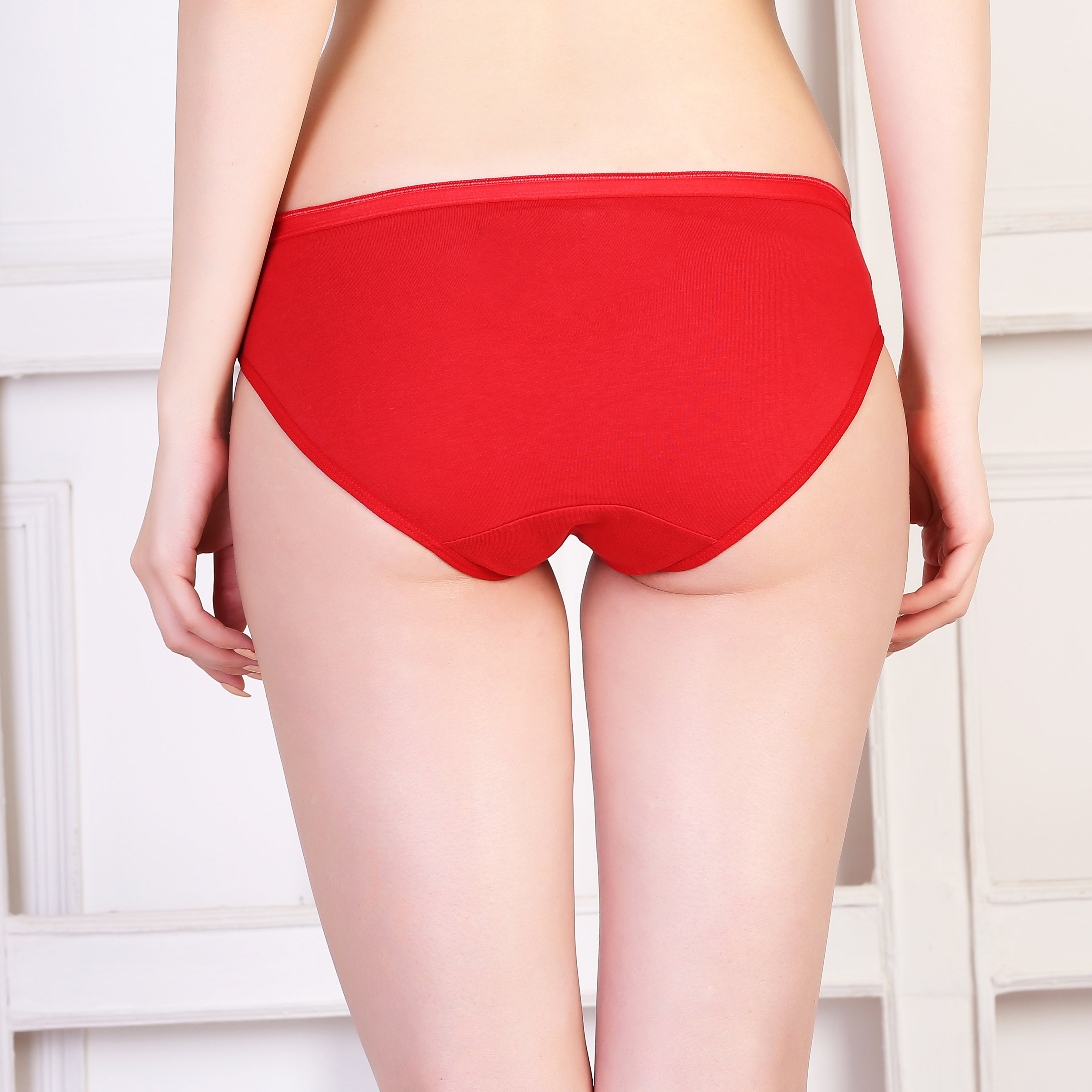 Ficuster Red Black Low Rise Cotton Bikini Panty (Pack of 2)