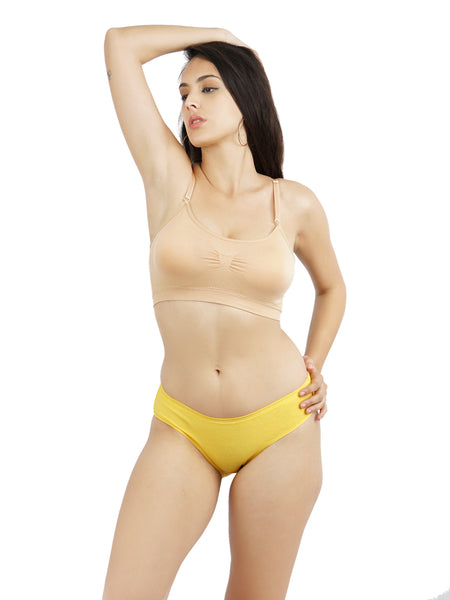 Ficuster Peach Yellow Low Rise Cotton Bikini Panty (Pack of 2)