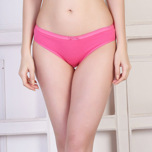 Ficuster Yellow Light Pink Low Rise Cotton Bikini Panty (Pack of 2)