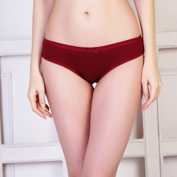 Ficuster Black Maroon Low Rise Cotton Bikini Panty (Pack of 2)